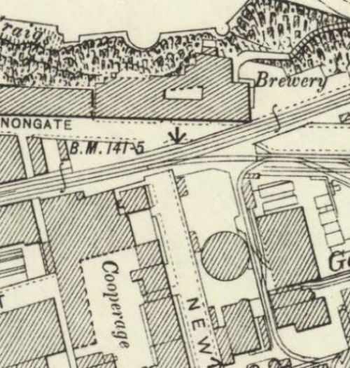 Map of 1896 showing the layout of the old Edinburgh Brewery and associated cooperage.