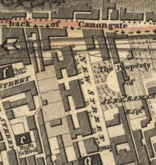 Map of 1817 showing the location of the Edinburgh Brewery opposite the north end of New Street