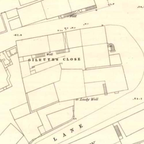 Map of 1857 showing the site of David Thomson Wills' brewery