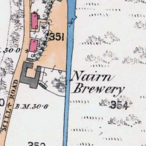 Map of 1868 showing the location of the Nairn Brewery.