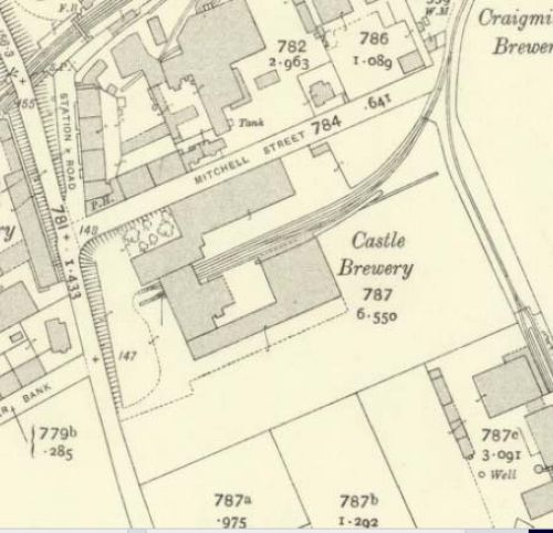 Map of 1913 showing the Castle Brewery in Edinburgh
