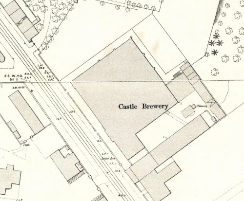 Map of 1892 showing the Castle Brewery in Glasgow