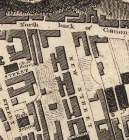 Map of 1823 showing the location of the Edinburgh Brewery opposite the north end of New Street