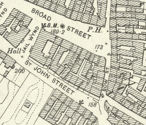 Map of 1896 showing the location of the Broad Street Brewery