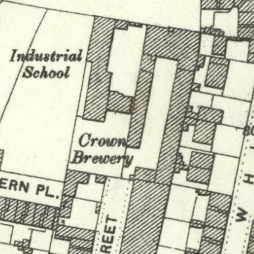 Map of 1892 showing the Crown Brewery in Glasgow