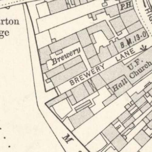 Map showing the Crown Brewery in 1914