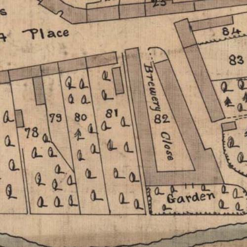 Map of 1819 showing the Coldstream Brewery