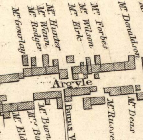 Map of 1820 showing the site of the Argyle Brewery