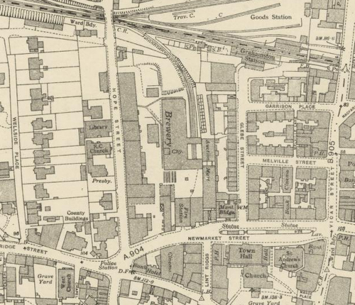 Map of 1944 showing the layout of the new Falkirk Brewery