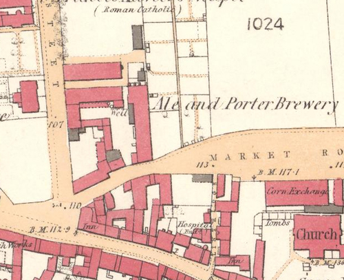 Map of 1860 showing the layout of the new Falkirk Brewery