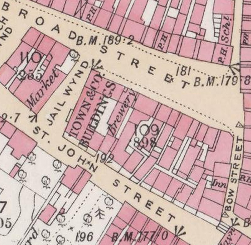 Map of 1860 showing the location of the Broad Street Brewery