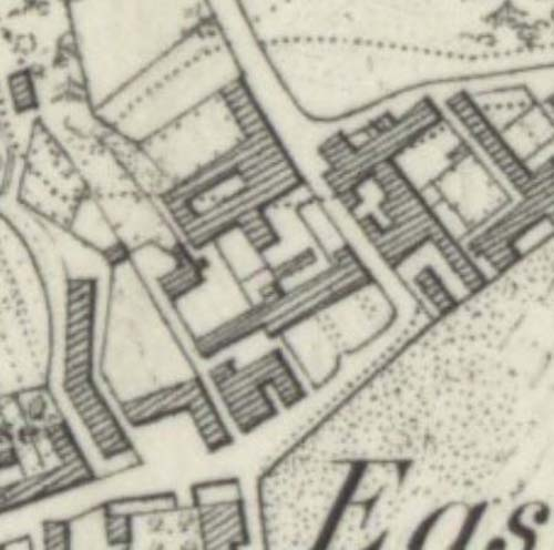 Map of 1854 showing the location of the MacDuff Brewery