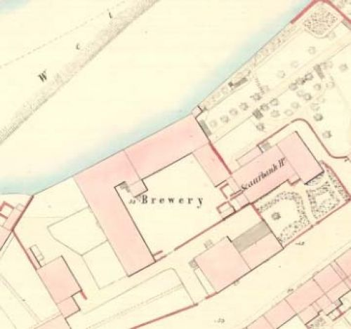 Map of 1859 showing James Hope's brewery
