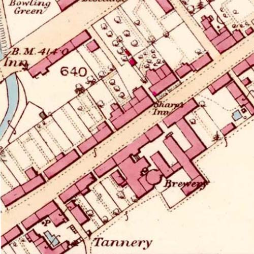 Map of 1863 showing the location of the Blackford Brewery