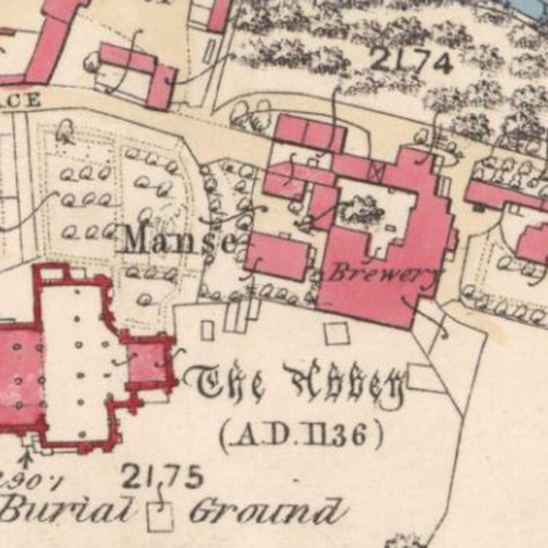 Map of 1859 showing the layout of the Abbey Brewery