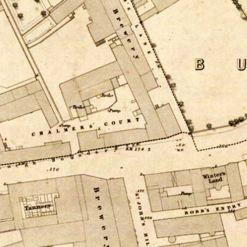Map of 1852 showing the Canongate Brewery