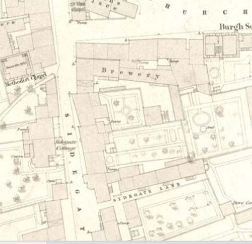 Map of 1853 showing the layout of the Sidegate Brewery