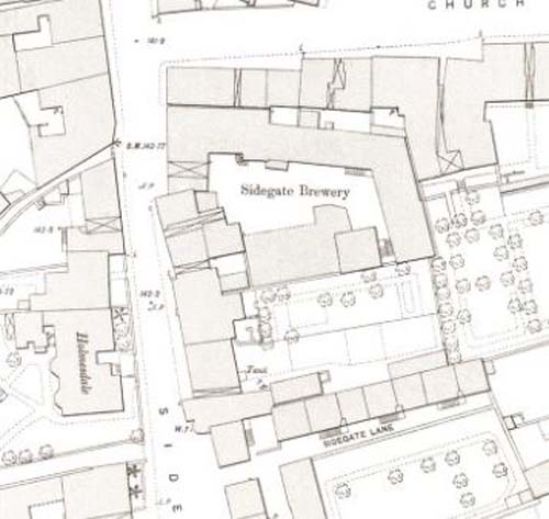 Map of 1893 showing the layout of the Sidegate Brewery.