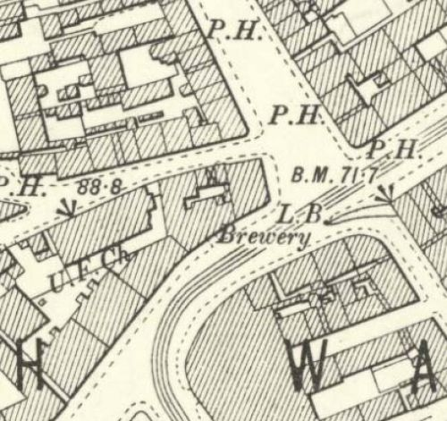 Map of 1900 showing the Victoria Brewery