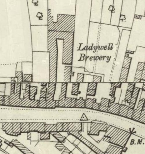 Map of 1892 showing the layout of the Ladywell Brewery
