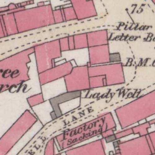 Map of 1872 showing the site of M. D. Wills' brewery