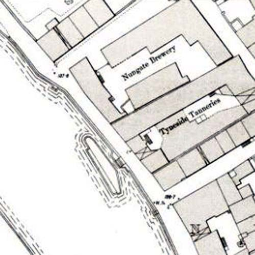 Map of 1893 showing the location of the Nungate Brewery