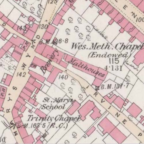 Map of 1860 showing the Stirling Brewery