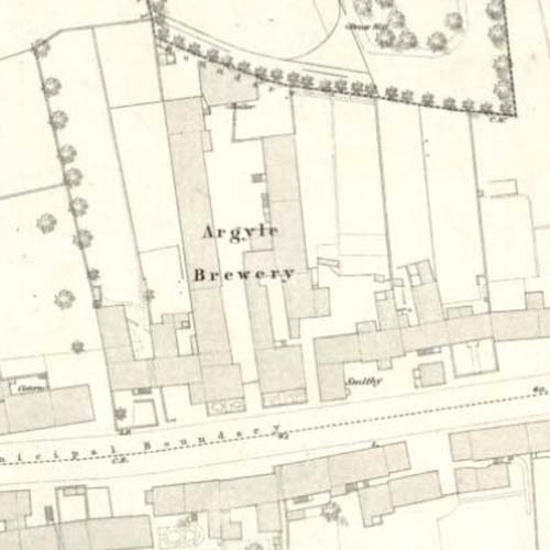 Map of 1854 showing the Argyle Brewery