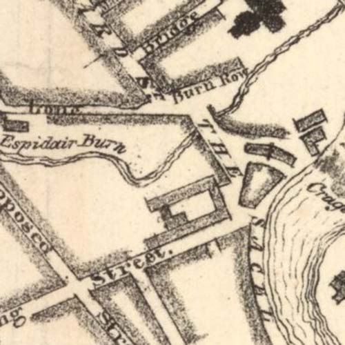 Map of 1828 showing the location of the Sacell Brewery.