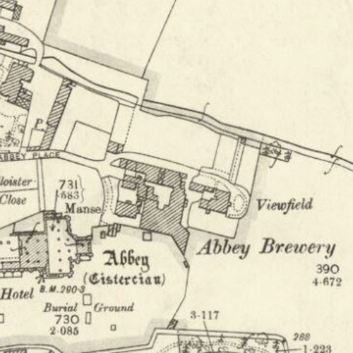 Map of 1897 showing the layout of the Abbey Brewery