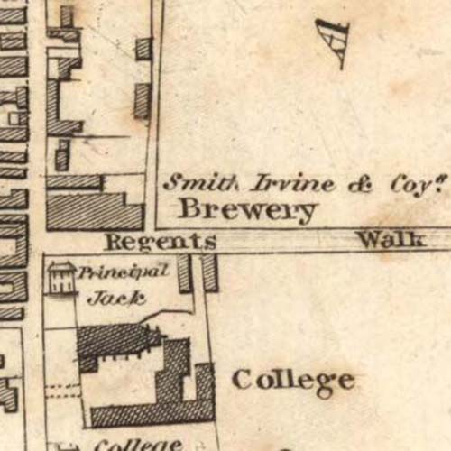 Map of 1828 showing Smith, Irvine & Co's brewery