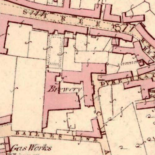 Map of 1854 showing the old Bathgate Brewery in Chapel Lane