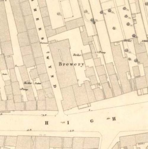 Map of 1853 showing the location of the Fisherrow Brewery