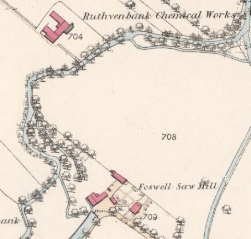 Map of 1860 showing the probable site of the Ruthvenbank Brewery