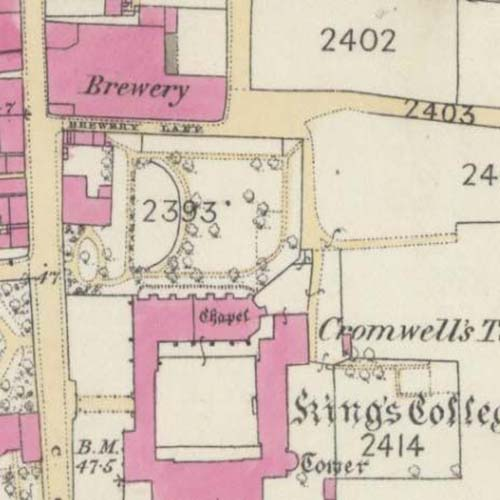Map of 1867 showing the Old Town Brewery