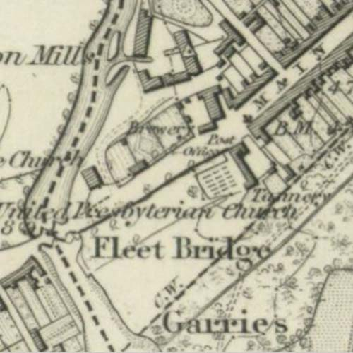 Map of 1849 showing the Gatehouse Brewery