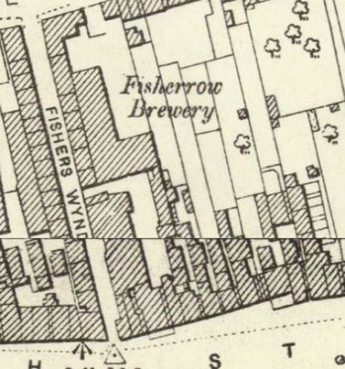 Map of 1893 showing the layout of the Fisherrow Brewery
