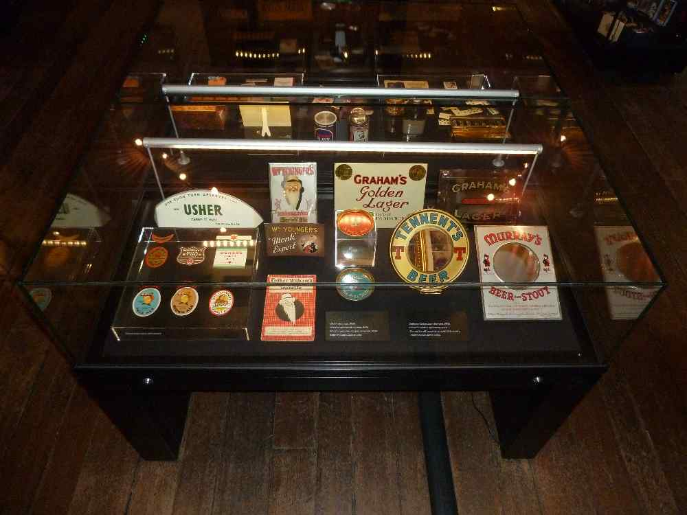 A display of brewery advertising artefacts